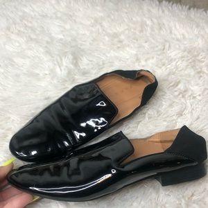 Shiny Zara Black Slip Ons
